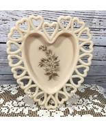 Westmoreland Hand Painted Cream Beige Milk Glass Heart Plate Dish Flowers  - $27.23