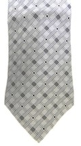 Silk Neck Tie Zylos George Machado Men's Gray Silver Black Striped Check... - $16.63