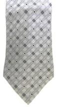 Silk Neck Tie Zylos George Machado Men's Gray Silver Black Striped Check Block - $16.63