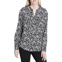 Calvin Klein Printed Shirt Herringbone Casual Top, Black White - $31.00