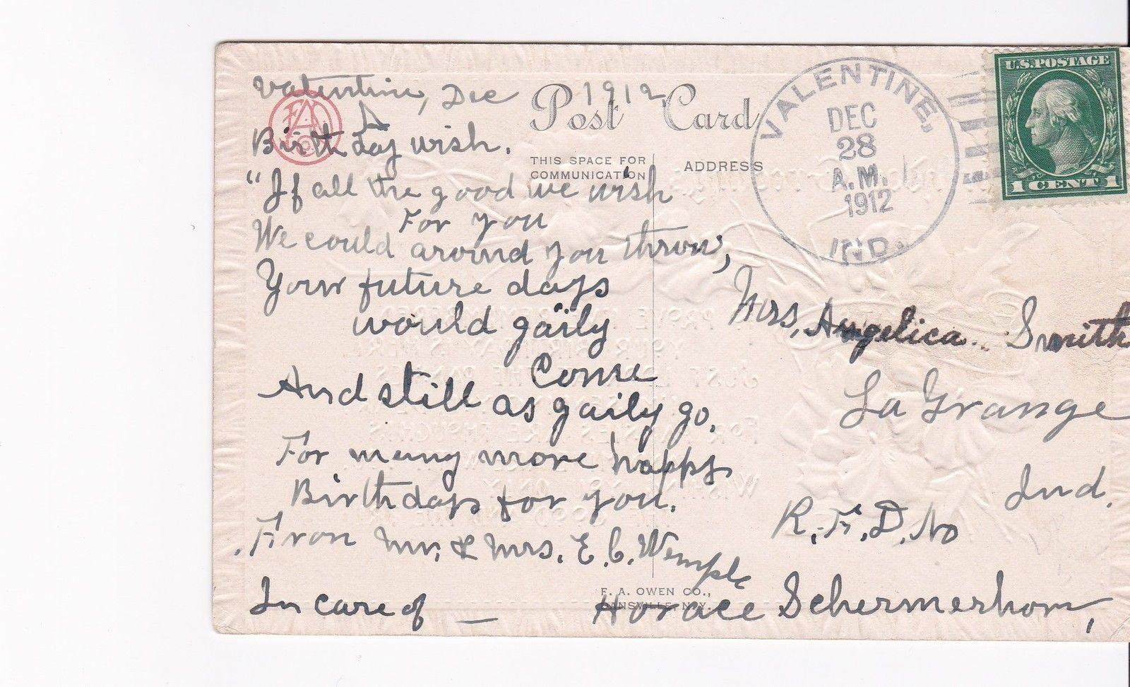 BIRTHDAY GREETINGS VINTAGE POSTCARD VALENTINE, IND DECEMBER 28, 1912