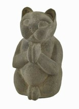 "Cat Kitty Praying Meditating Memorial Gray Stone Indoor Outdoor Statue 8"" H - $35.64"