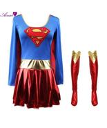 Superman Print Cosplay Costume For Adult Supergirl Superhero Dress For W... - $27.08
