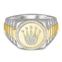 14kt Gold Finish Moissanite Diamond King Crown Ring Men's,Hip-Hop Men's ... - £218.08 GBP