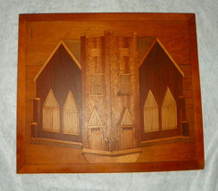 Maple Mahogany Walnut Satinwood Inlaid Picture - $129.00