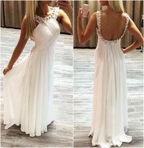 White Elegant Sleeveless Beading Halter Long Prom Dress/Evening Dress - $169.00
