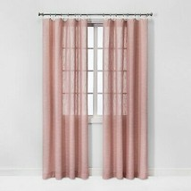 84x54 Feather Sheer Window Curtain Panel with Contrast Edge Rings Pink/W... - $14.25
