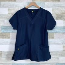 WonderWink Sporty V Neck Scrub Top Navy Blue 6214 Nursing Medical Womens... - $14.84