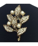 Goldette Brooch Signed Leaf Pin Gold Tone Faux Pearl Rhinestone Studded ... - $29.95