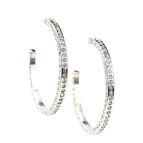UNITED ELEGANCE Silver Tone Hoop Earrings With Dazzling Swarovski Style Crystals image 2