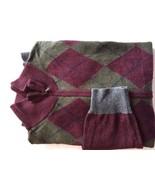 Gap Men Sweater Full Zip Burgundy Green Argyle Long Sleeve XL Cotton Wool - $22.20