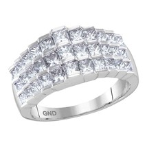14kt White Gold Womens Staggered Princess Diamond Arched Cocktail Ring 2... - £1,597.47 GBP