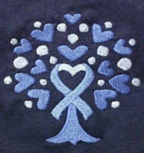 T Shirt M Colon Cancer Awareness Heart Blue Ribbon Tree Navy S/S Crew Neck New