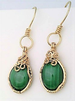Malachite gold wire wrap earrings 13