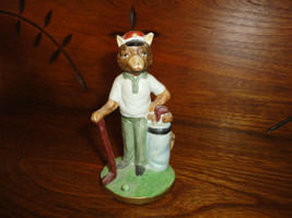 Vintage Bear Bisque Porcelain Golf Figurine Ornament Hand Painted Taiwan... - $57.83