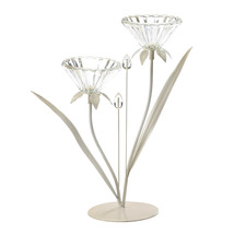 Flower Candle Holder, Metallic Candle Holders, Double Posy Flower Candle... - €21,25 EUR