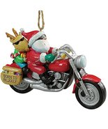 Cape Shore Santa and Reindeer Riding a Harley Motorcycle Ornament - $11.83