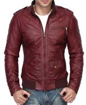 Mens Maroon  genuine Handmade Bespoke cowhide Leather Jacket Real Bespoke - $118.79+