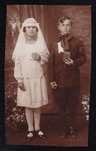 Antique Vintage Photograph Adorable Little Boy & Girl - First Holy Commu... - $6.24