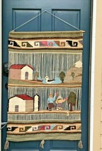 Vintage Mexico Peru Wool Wall Hanging Farm Seagull Tapestry Wallhanging  - $237.49