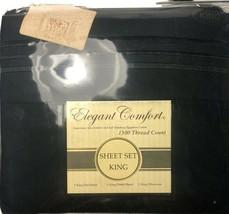 Elegant Comfort 4 Piece Cal King Sheet Set Bkack 1500 Thread Egyptian Co... - $35.95