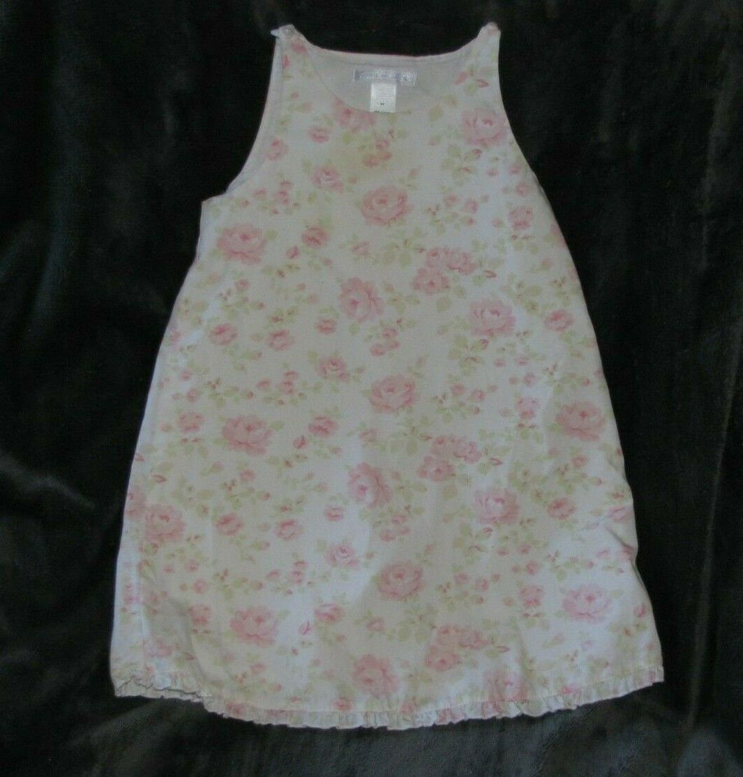 Primary image for Vintage 2002 Janie and Jack Shabby Pink Cottage Roses White Green Dress 3t Girl