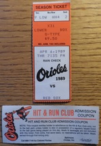 Baltimore Orioles 2 Ticket Stubs 1989 vs Red Sox + Hit and Run Club Admi... - $4.50