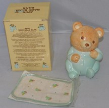 1986 Ceramic Avon Baby Bear Bank w/ Security Blanket & Iron On Letters i... - $14.99