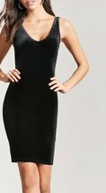 Forever 21 Velvet Little Black Dress Sexy Bodycon V Neck Basic Black S NEW - $9.31