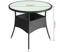 Garden Round Table With Glass Tabletop Waterproof Rattan Outdoor Patio Black New - $81.95