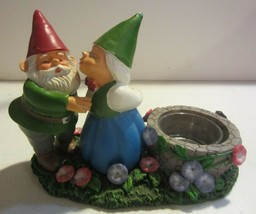 Yankee Candle Gnome Tealight Candle Holder Mr & Mrs Kissing Garden Gnomes  - $18.67