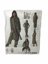 V2148 Vogue Pattern Attitudes 12-16 Miss /Petite Duster Dress Jacket Pant - $12.86