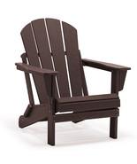 BROWN Patio Adirondack Chair Folding Outdoor Poly Seat Lounge Garden Dec... - $169.95