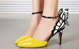 84H077 Cute butterfly strappy ankle pumps Size 5-9.5, yellow - $52.80