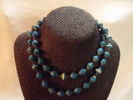 "33"" Aqua Uganda Paper Beads Necklace African - $17.82"