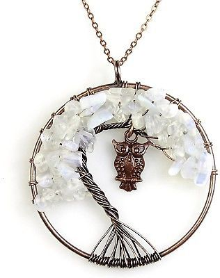 Primary image for  BAYUEBA Necklace Amethyst Labradorite Peridot Gemstone Chakra Tree Of Life Owl
