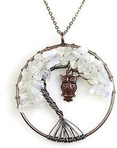 BAYUEBA Necklace Amethyst Labradorite Peridot Gemstone Chakra Tree Of L... - ₹927.86 INR