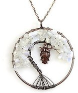 BAYUEBA Necklace Amethyst Labradorite Peridot Gemstone Chakra Tree Of L... - $12.23