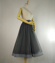 2020 High Waisted Ruffle Tulle Tutu Skirt Layered Tulle Midi Skirt Outfit T1880 image 6