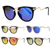 SA106 Mirrored Lens Crooked Bolt Arrow Arm Horn Rim Retro Sunglasses - $12.95