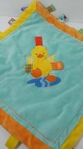 Taggies duck splashing puddle aqua blue baby security blanket satin back FLAW - $35.63