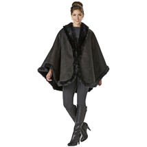 Excelled Womens Plus Shearling-Look Cape Black OS #NJ1F6-464 - $119.99