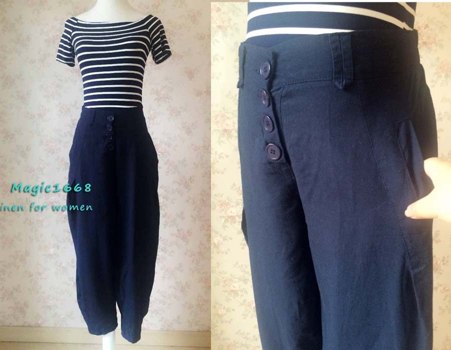 Navy Oversize Linen Pants Wide Leg Pants Ankle Length Elastic Trousers NWT