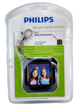 """Phillips Digital Photo Keychain 1.5"""" LCD 8 MB Rechargeable Glossy Black NEW - $7.70"""