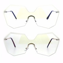 Womens Oversize 80s Octagonal Shield Clear Lens Eye Glasses - $13.95