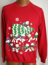 Vintage 80s Christmas Tree Bears Raglan Ugly Christmas Sweater Sweatshirt M - $19.79