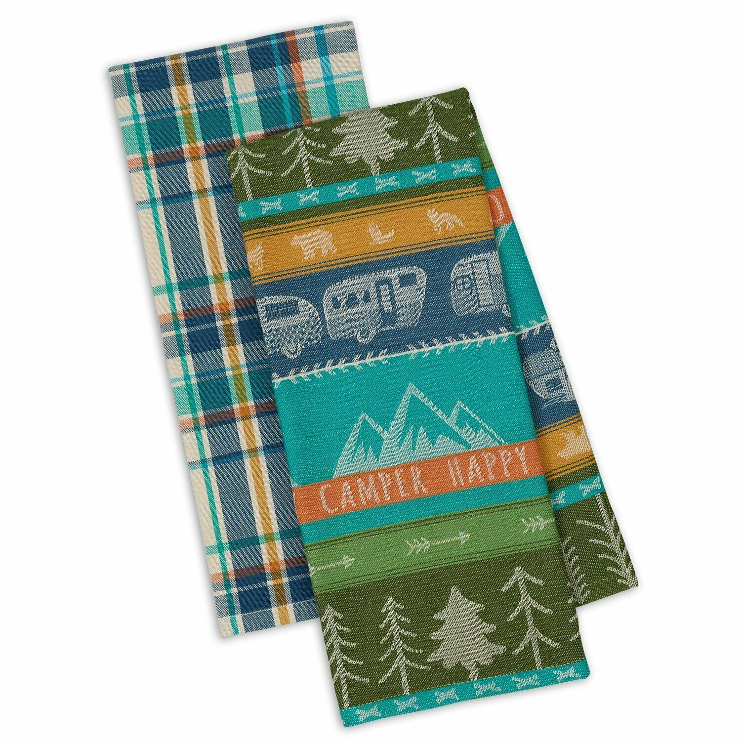 Happy Camper Dish Towel Set of 2 New Kitchen Tea Towels Cotton Trailer Trees