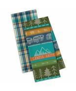 Happy Camper Dish Towel Set of 2 New Kitchen Tea Towels Cotton Trailer T... - $19.79