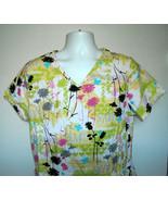 Tropical Palm Tree Floral Love Scrub Shirt Womens Medium 100% cotton - $21.73