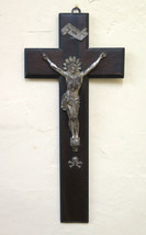 Crucifix Old Beginning '900 Wood And Metal Christ Cross Art Religious GR14 - $73.51